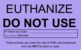 Euthanize card: Euthanize do not use. PI name and date. Barcode (must be filled out). These animals are under the care of RAR until euthanized and may not be taken or used.